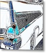 1957 Chevrolet Bel Air Art White Metal Print