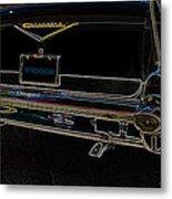 1957 Chevrolet Rear View Art Black_varooom Tag Metal Print