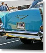 1957 Chevy Bel Air Blue From Rear Metal Print