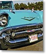 1957 Chevy Bel Air Blue Front Grill Metal Print