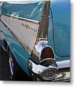1957 Chevy Bel Air Blue Rear Quarter From Back Metal Print