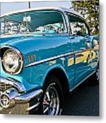 1957 Chevy Bel Air Blue Right Side Metal Print