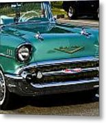 1957 Chevy Bel Air Green Front End Metal Print