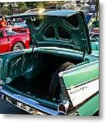 1957 Chevy Bel Air Green Rear Trunk Open Metal Print