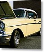 1957 Chevy Bel Air Yellow Down The Side Metal Print