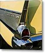 1957 Chevy Bel Air Yellow Fin And Tail Light Metal Print