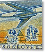 1957 Czechoslovakia Airline Stamp Metal Print