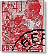 1957 German Democratic Republic Chemist Stamp Metal Print