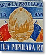 1957 Romanian Coat Of Arms And Flags Stamp Metal Print