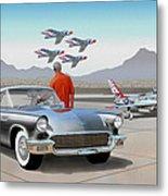 1957 Thunderbird  With F-84 Gunmetal Vintage Ford Classic Art Sketch Rendering           Metal Print