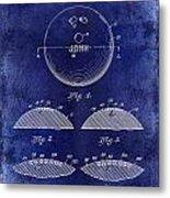 1958 Bowling Patent Drawing Blue Metal Print