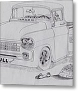1958 Chevby Pick Up Junkyard Dawg Aka The Bull Dawg Metal Print