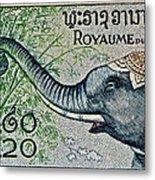 1958 Laos Elephant Stamp II Metal Print
