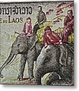 1958 Laos Elephant Stamp IIi Metal Print