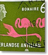 1958 Netherlands Antilles Flamingoes Stamp - Curacao Postmark Metal Print