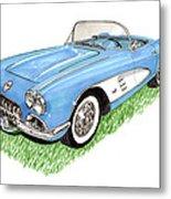 1959 Corvette Frost Blue Metal Print