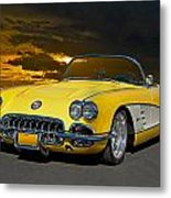 1959 Corvette Yellow Roadster Metal Print
