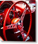 1959 Red Chevy Corvette Metal Print by David Patterson