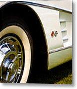 1959 White Chevy Corvette Metal Print