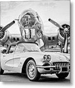1960 Chevrolet Corvette - B-17 Bomber Metal Print