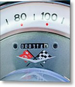 1960 Chevrolet Corvette Speedometer Metal Print by Jill Reger