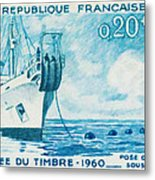 1960 Day Stamp Installation Of A Submarine Cable Metal Print