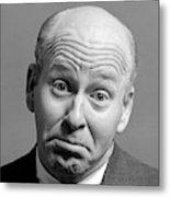 1960s Bald Man Wrinkled Brow Sad Metal Print