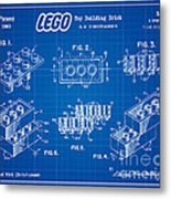 1961 Lego Building Blocks Patent Art 3 Metal Print