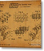 1961 Lego Building Blocks Patent Art 5 Metal Print