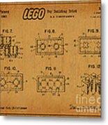 1961 Lego Building Blocks Patent Art 6 Metal Print