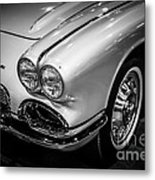 1962 Chevrolet Corvette Black And White Picture Metal Print