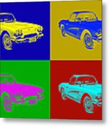 1962 Chevrolet Corvette Convertible Pop Art Metal Print