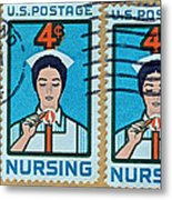 1962 Nursing Stamp Collage - Oakland Ca Postmark Metal Print