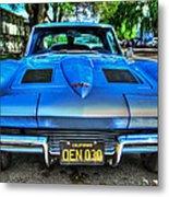 1963 Blue Corvette Stingray-front View Metal Print
