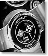 1963 Chevrolet Corvette Split Window Steering Wheel Emblem -309bw Metal Print