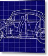 1963 Volkswagon Beetle Blueprint Metal Print