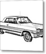 1964 Chevrolet Impala Car Illustration Metal Print