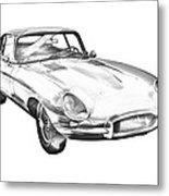 1964 Jaguar Xke Antique Sportscar Illustration Metal Print