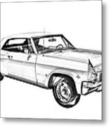1965 Chevy Impala 327 Convertible Illuistration Metal Print