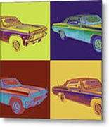 1965 Chevy Impala 327 Convertible Pop Art Metal Print