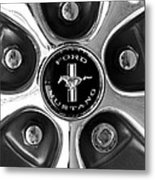 1965 Ford Mustang Gt Rim Black And White Metal Print