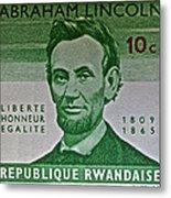 1965 Rwanda Abraham Lincoln Stamp Metal Print