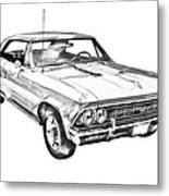 1966 Chevy Chevelle Ss 396 Illustration Metal Print
