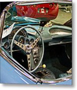 1967 Blue Corvette-interior And Wheel Metal Print