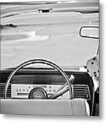 1967 Lincoln Continental Steering Wheel -014bw Metal Print
