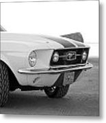 1967 Mustang Front In Black Metal Print