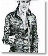 1968 Black Leather Suit Metal Print