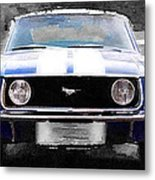 1968 Ford Mustang Front End Watercolor Metal Print