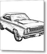 1968 Plymouth Roadrunner Muscle Car Illustration Metal Print