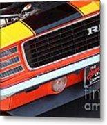 1969 Chevrolet Camaro Rs - Orange - Front End 7550 Metal Print